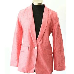 J Crew Light Jacket Red Cotton Blazer Size 8 TALL